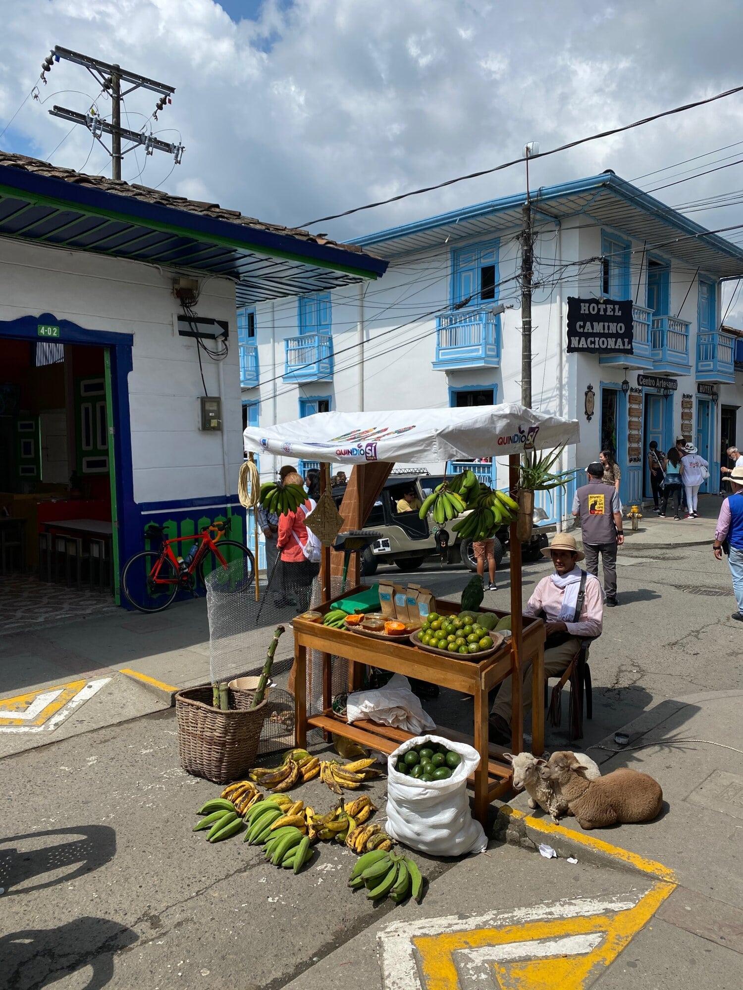 Marchant de fruits dans les rues de Colombie