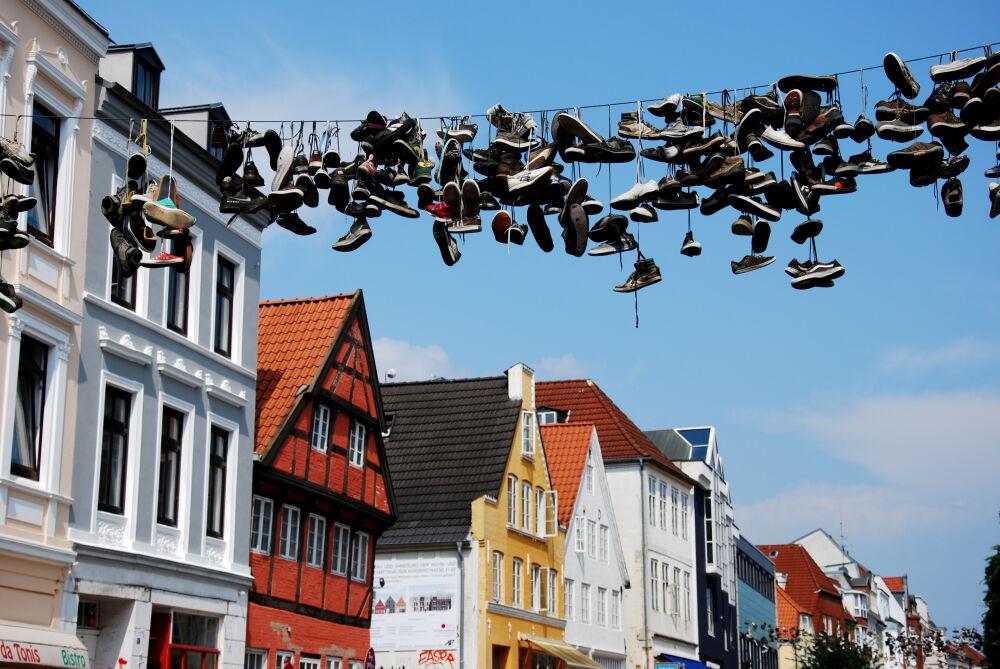 Flensburg - Suspension de chausssures dans Norderstraße