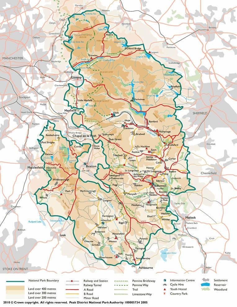 Carte du Peak District