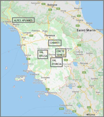Carte de la Toscane